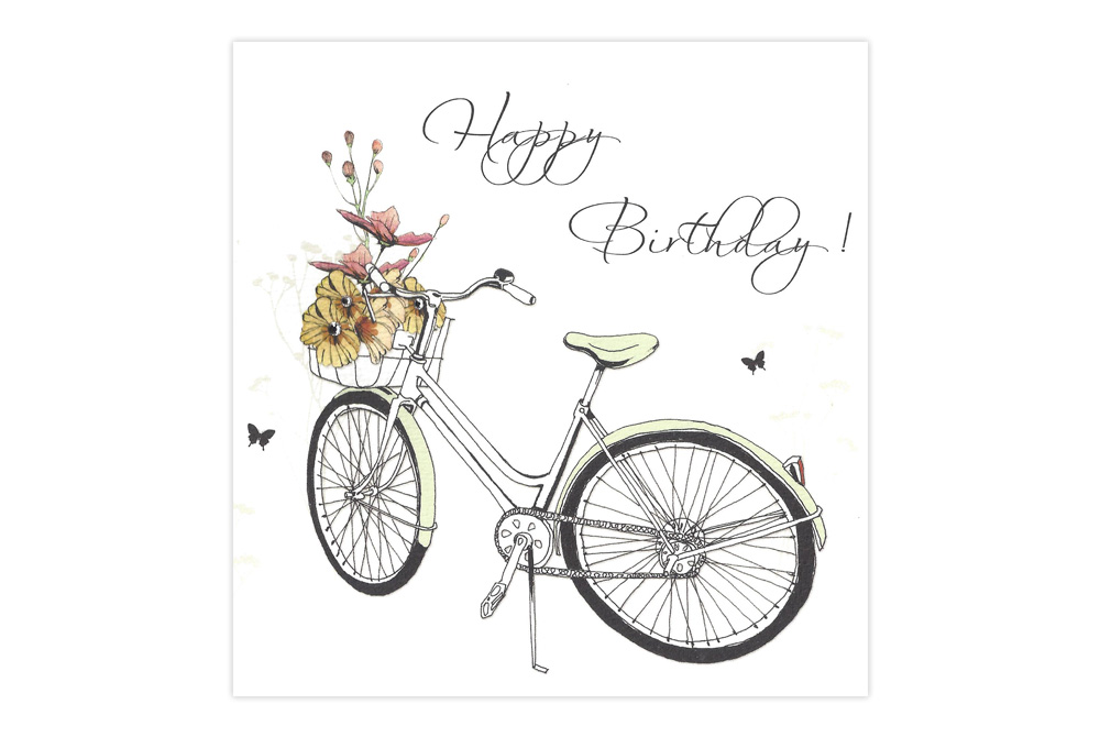 Happy Birthday Swarovski Bicycle Birthday Card