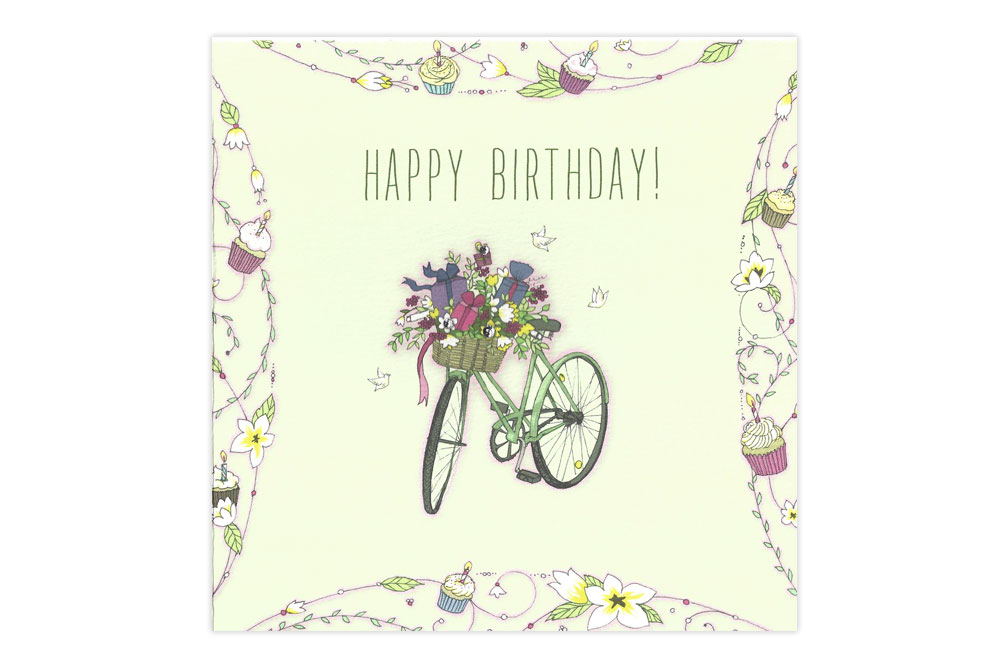 Presents and Flowers Swarovski Bicycle Birthday Card