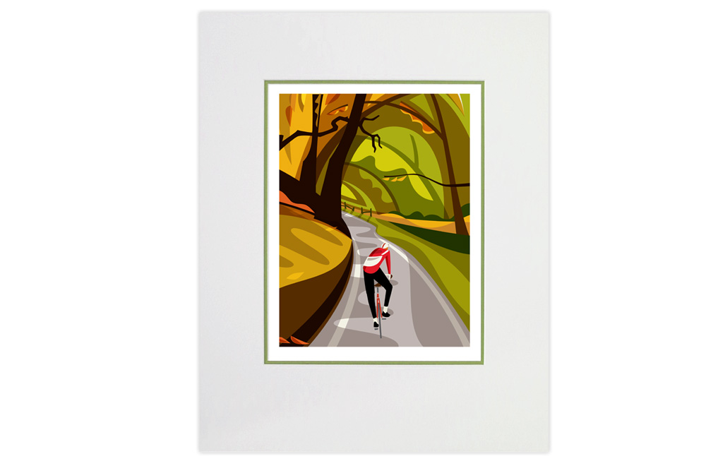Falling Leaves Cycling Print by Andrew Pavitt