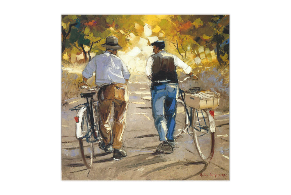 Returning from the Fields Bicycle Greeting Card