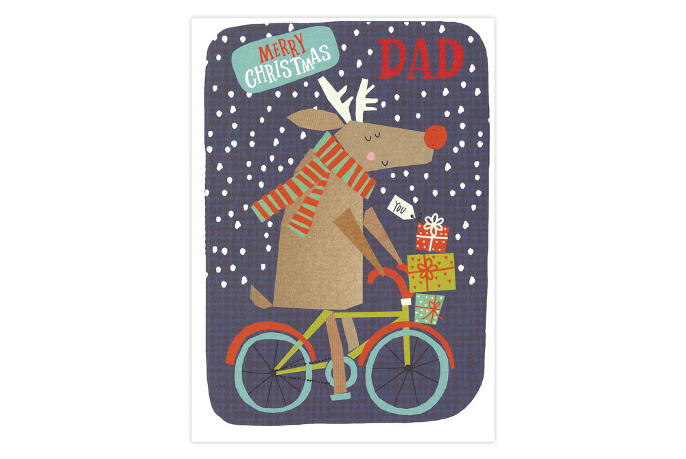 Merry Christmas Dad Bicycle Christmas Card