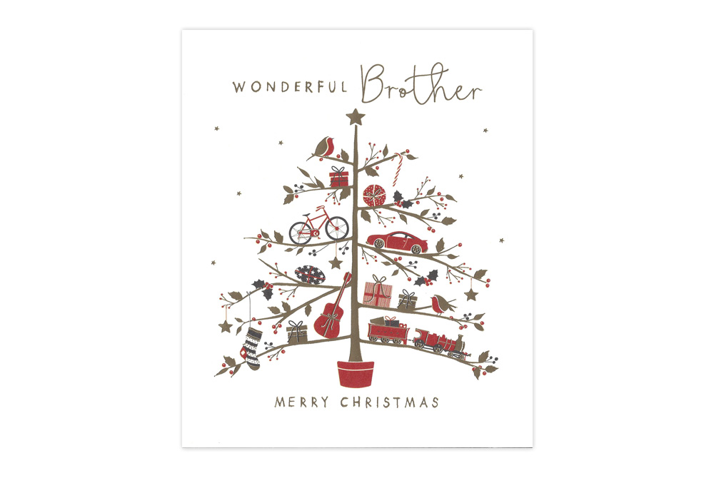 Wonderful Brother Bicycle Christmas Card