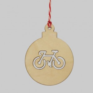 Wooden Bauble Christmas Bicycle Decorations