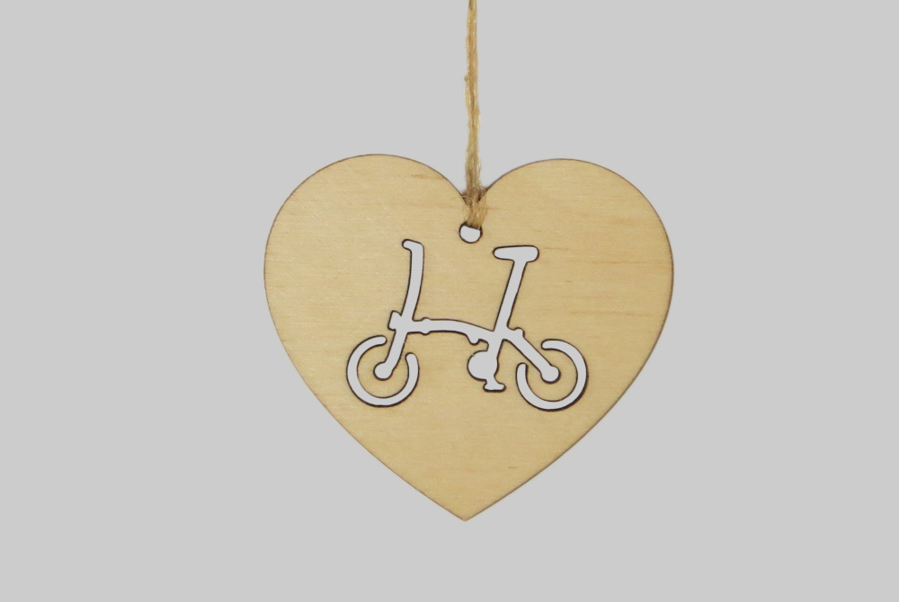 Wooden Heart Brompton Bicycle Decorations
