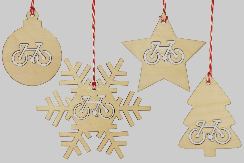 wooden christmas bicycle decorations