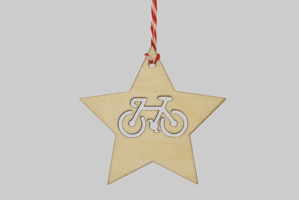 Wooden Star Christmas Bicycle Decorations