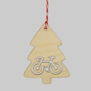 Wooden Tree Christmas Bicycle Decorations