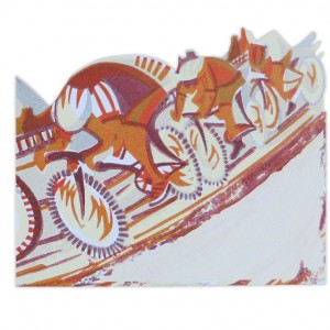 In Pursuit Bicycle Greeting Card by Paul Cleden