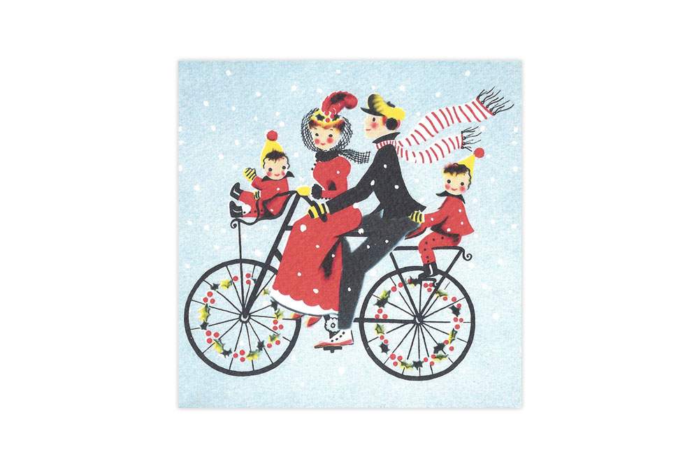 Family Bicycle Christmas Card x 8
