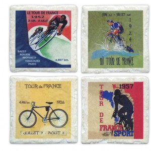 Four Ceramic Tour de France Bicycle Coasters
