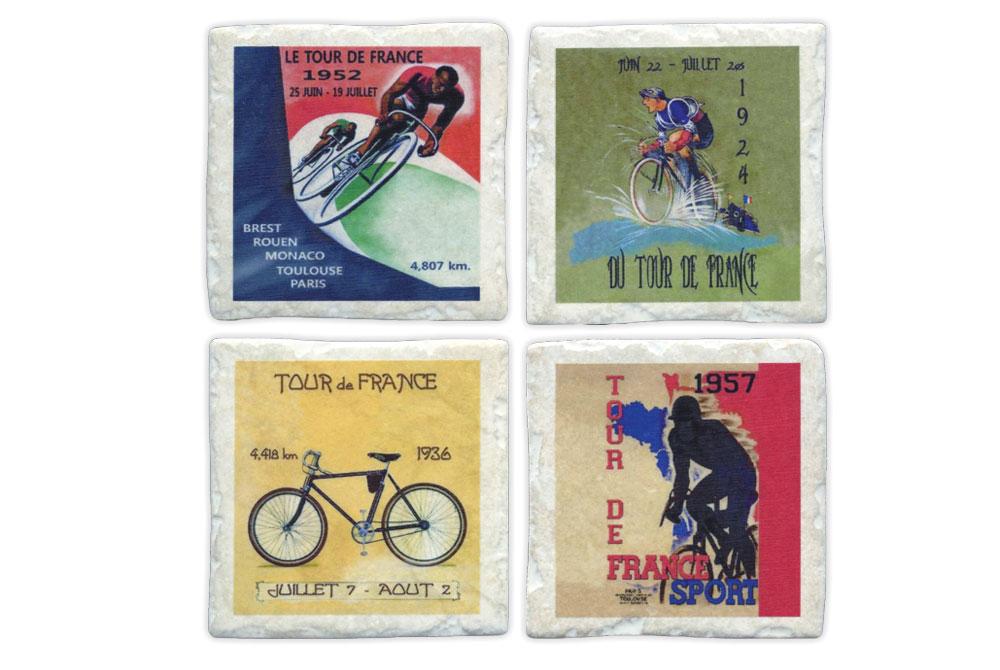 Four Ceramic Tour de France Bicycle Coasters