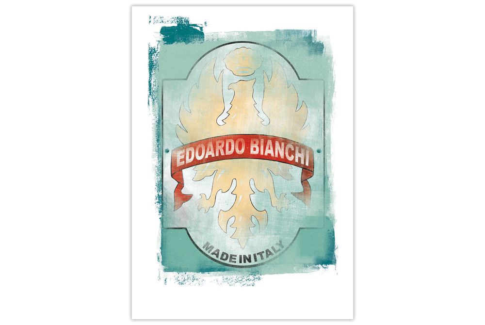 Bianchi Head Badge Cycling Print by Gareth Llewhellin
