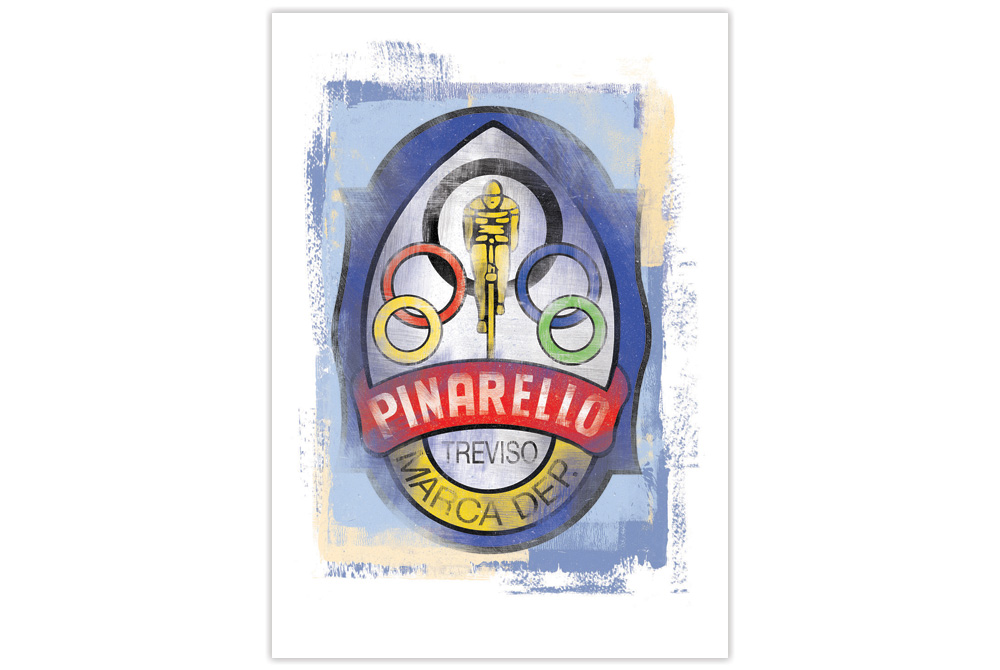 Pinarello Head Badge Cycling Print by Gareth Llewhellin