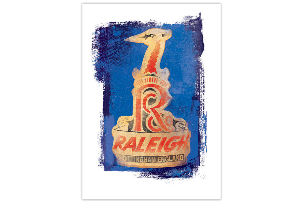 Raleigh Headbadge Cycling Print by Gareth Llewhellin