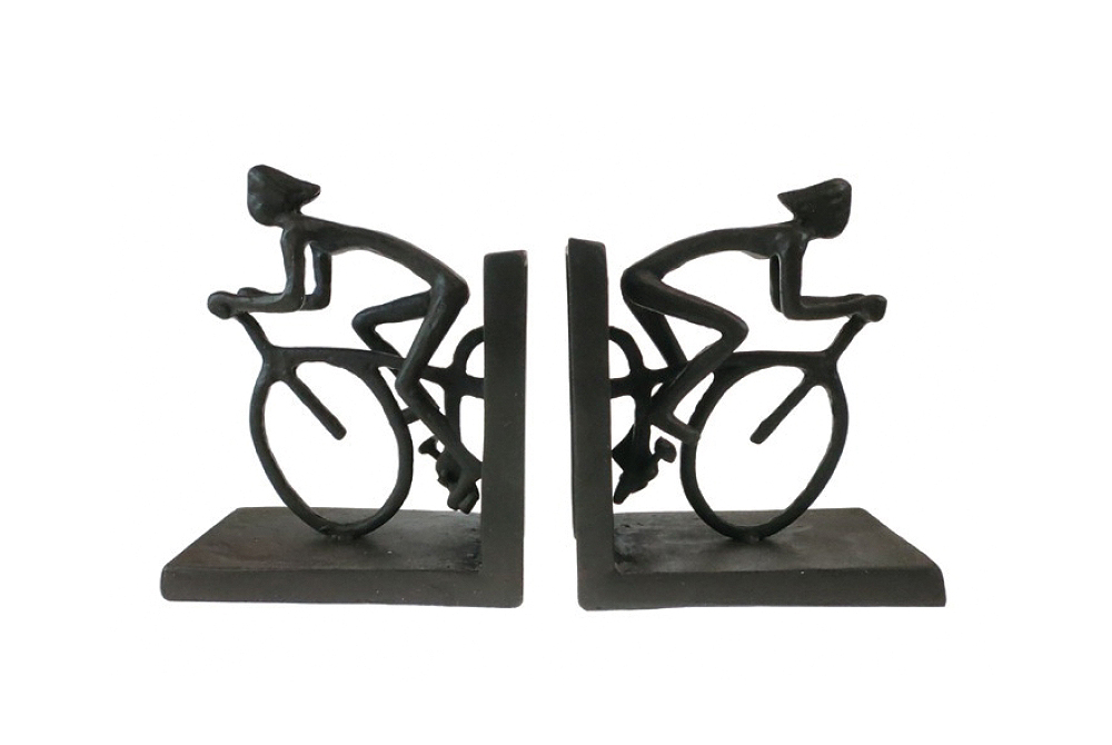 Cast Iron Racing Cyclist Bookends