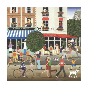French Cafe Bicycle Greeting Card