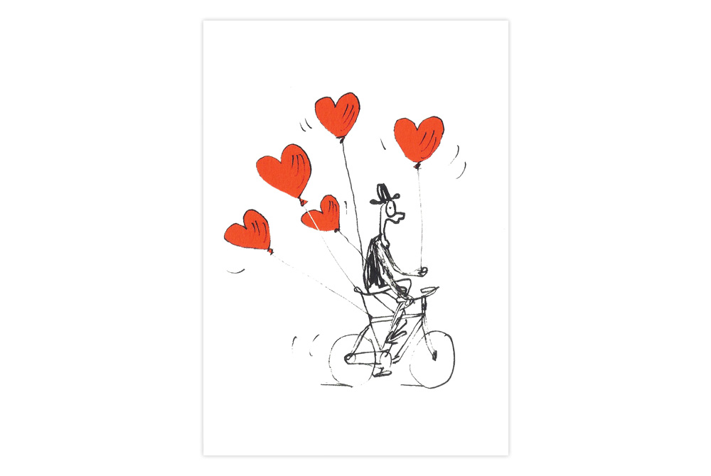 Balloon Bicycle Valentine Card – Simon Spilsbury