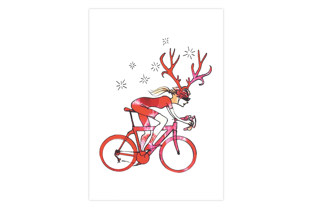 Woman Racer Bicycle Christmas Card – Simon Spilsbury