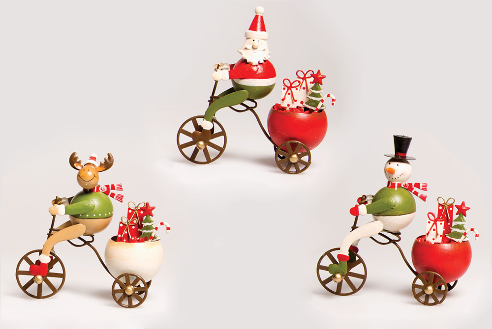 Christmas Bicycle Decorations – Santa, Snowman & Reindeer on a Bicycle
