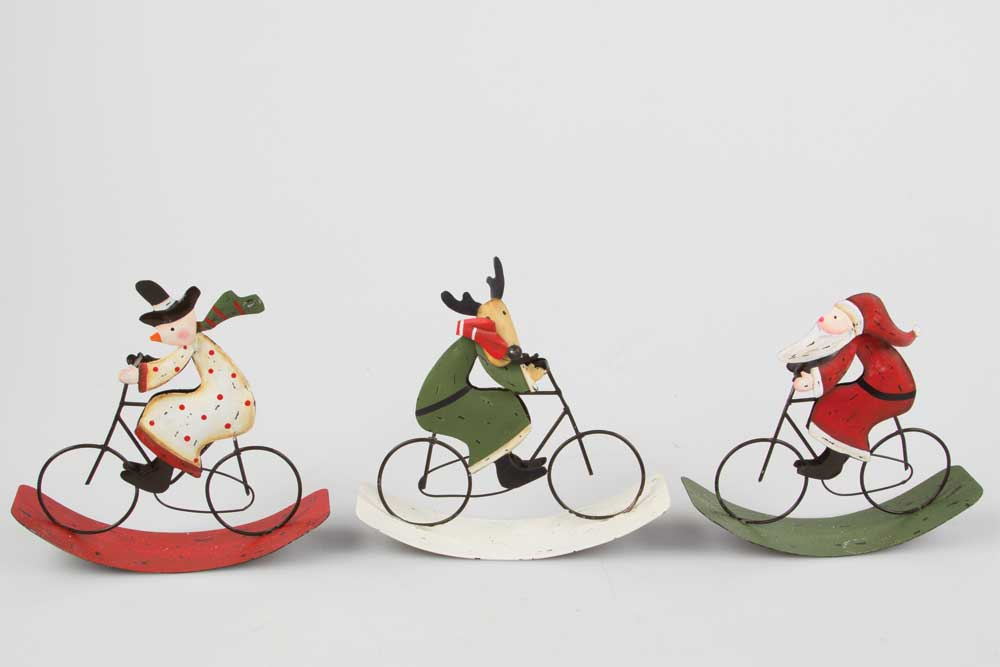 Christmas Bicycle Decorations - Rocking Santa, Snowman & Reindeer on a Bicycle