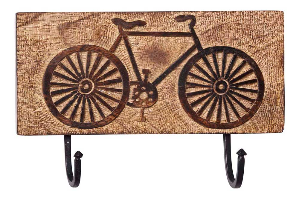 Wooden Bicycle Wall Hooks
