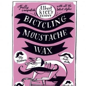 Moustache Wax Cycling Screen Print by Beach-O-Matic