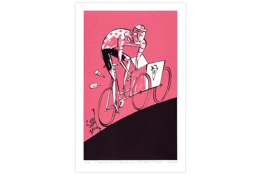 It Never Gets Easier Cycling Screen Print by Beach-O-Matic