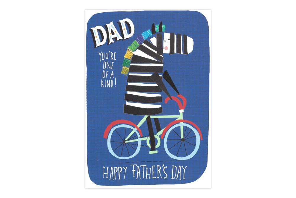Zebra on a Bicycle Father's Day Card