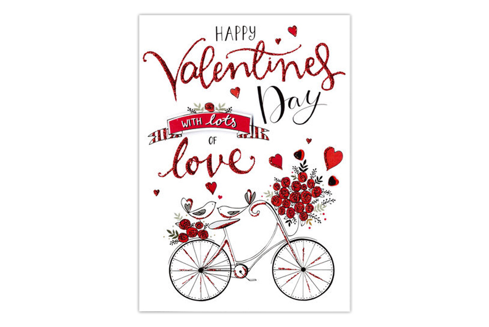 Happy Valentines Day Bicycle Card