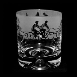 Cycling Scene Glass Tumbler