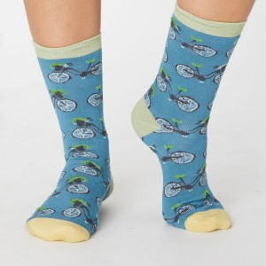 Women's Bamboo Bicycle Socks - Lagoon Blue