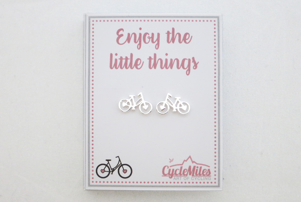 Sterling Silver Women's Bicycle Stud Earrings