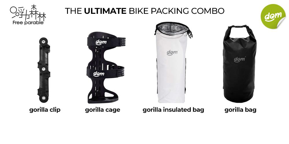 gorilla cage + gorilla clip + gorilla dry bag + gorilla insulated bag