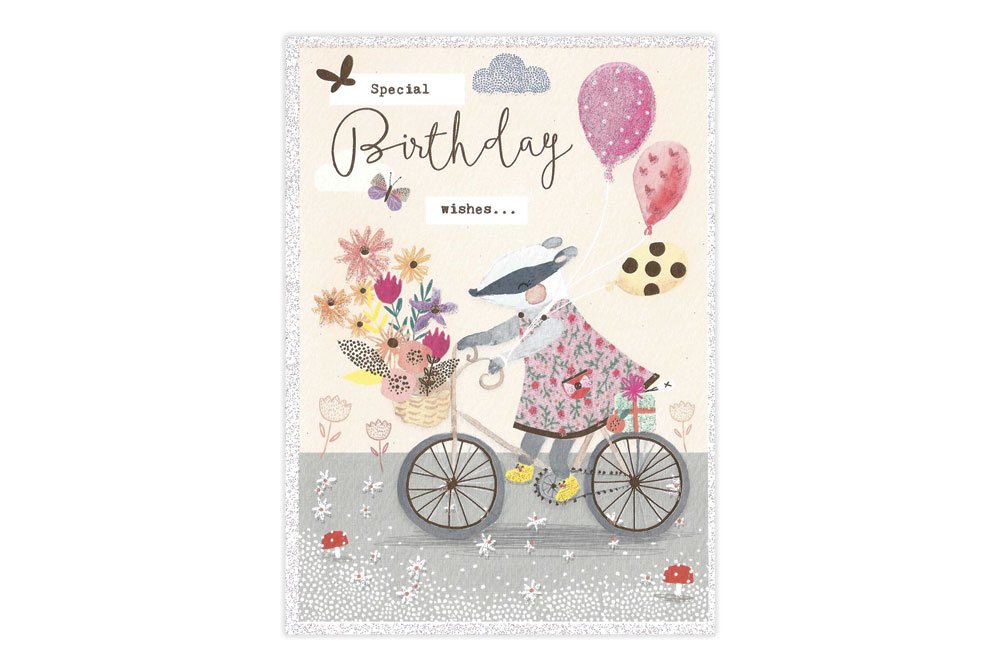 Badger on a Bicycle Birthday Card