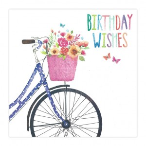 Big Basket of Flowers Bicycle Birthday Card