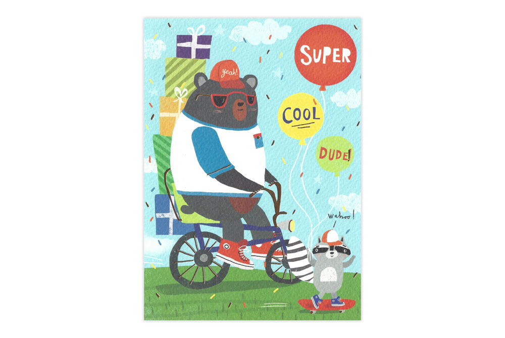 Cool Bear on a Bicycle Birthday Card