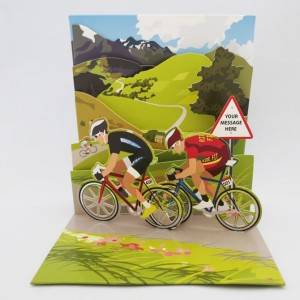 Double Racing Cyclists Pop Up Greeting Card