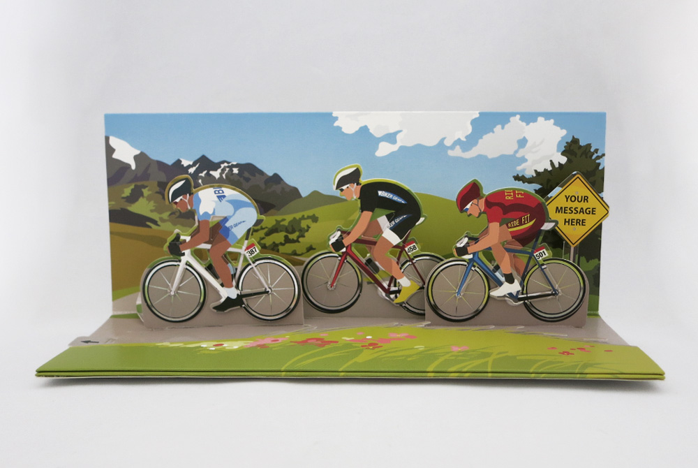 Triple Racing Cyclists Pop Up Greeting Card