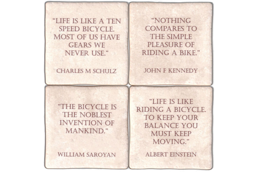 Four Ceramic Cycling Inspiration Coasters
