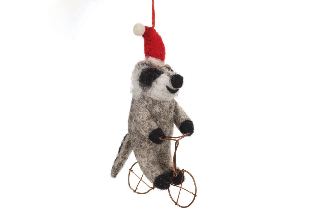 Raccoon on a Bicycle Christmas Tree Decoration