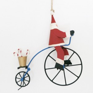 Bicycle Christmas Decoration – Santa on a Penny Farthing