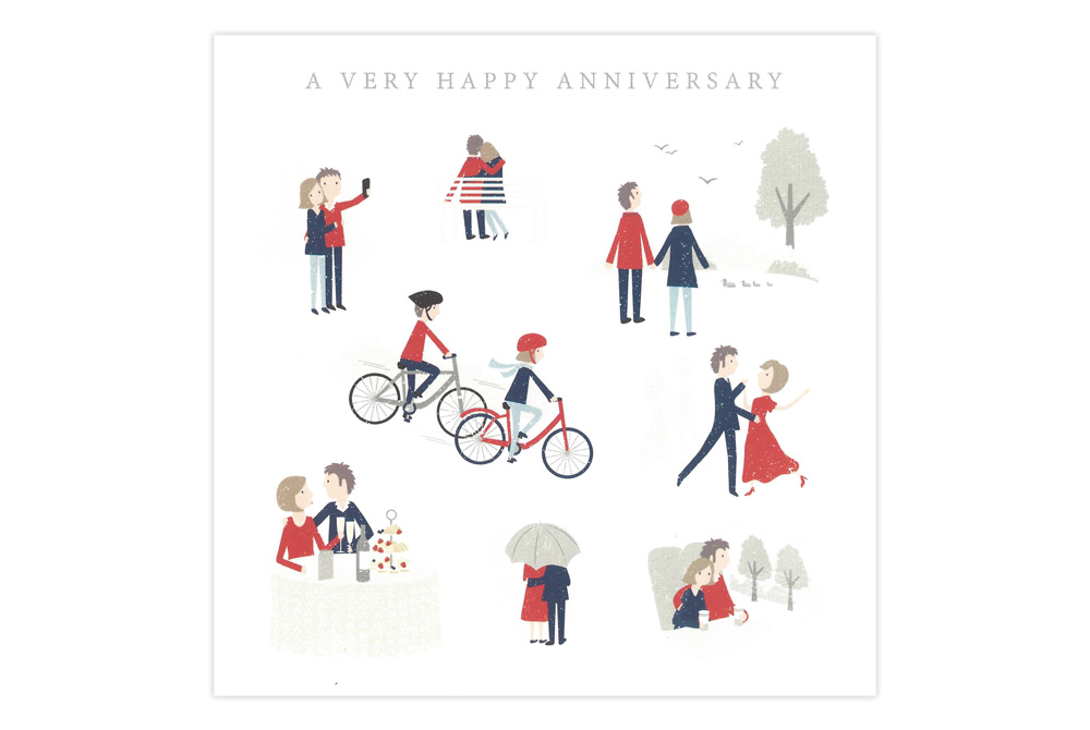 A Very Happy Anniversary Bicycle Greeting Card