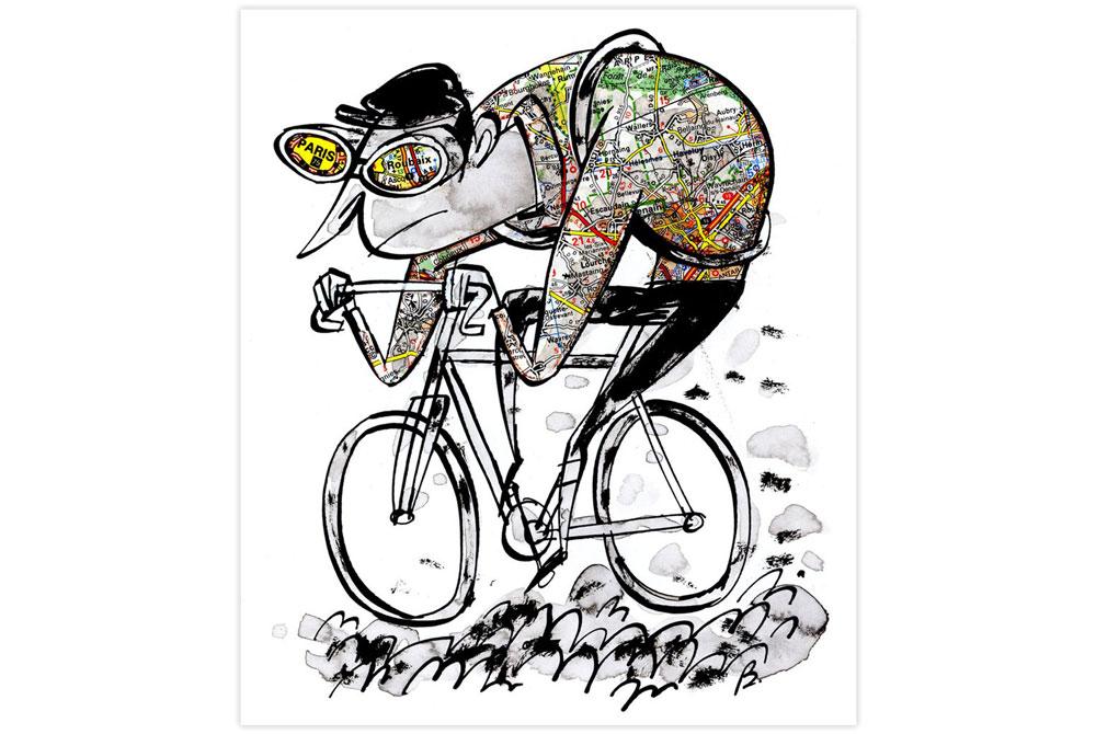 Paris Roubaix Cycling Print by Beach-O-Matic