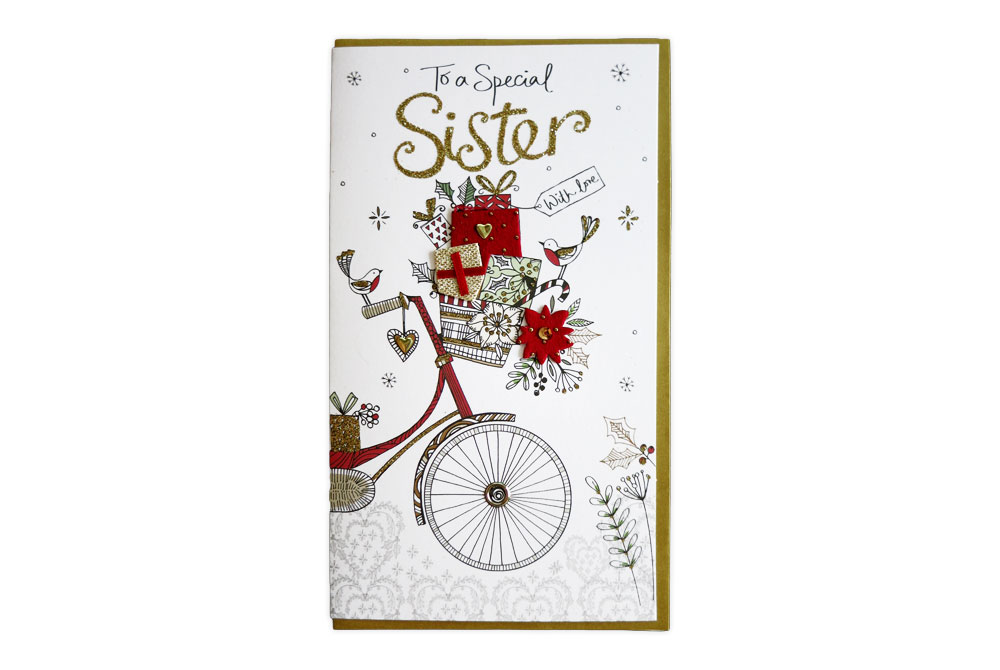 Special Sister Christmas Bicycle Card