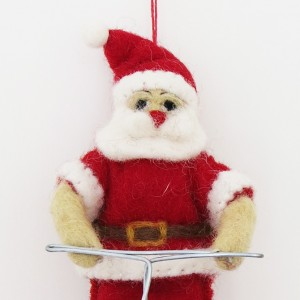 Felt Santa on a Bicycle Christmas Tree Decoration