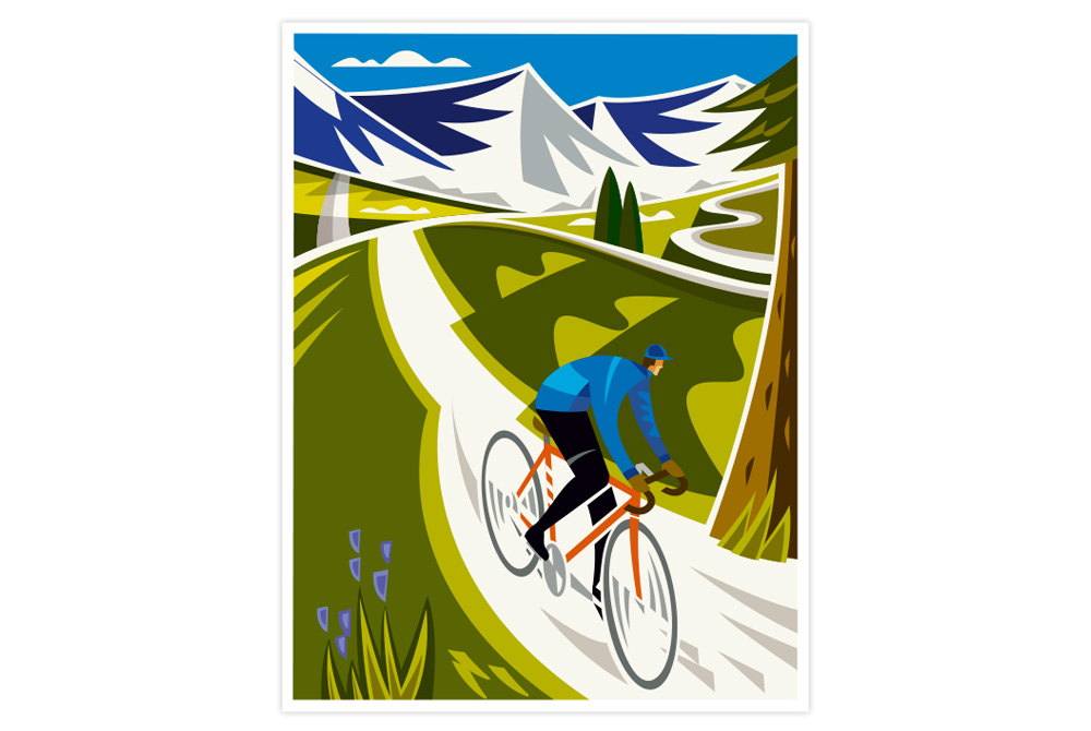 Alpine Descent Cycling Print by Andrew Pavitt - Colour