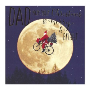Dad Moon Bicycle Christmas Card