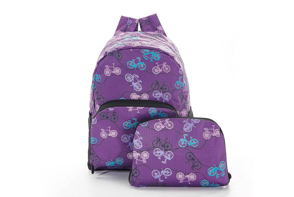 Purple Foldable Vintage Bicycle Mini Backpack