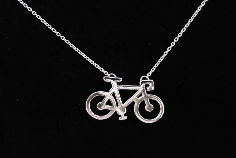Sterling Silver Racing Bicycle Necklace