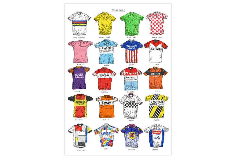 Racing Cycling Jerseys Print by David Sparshott